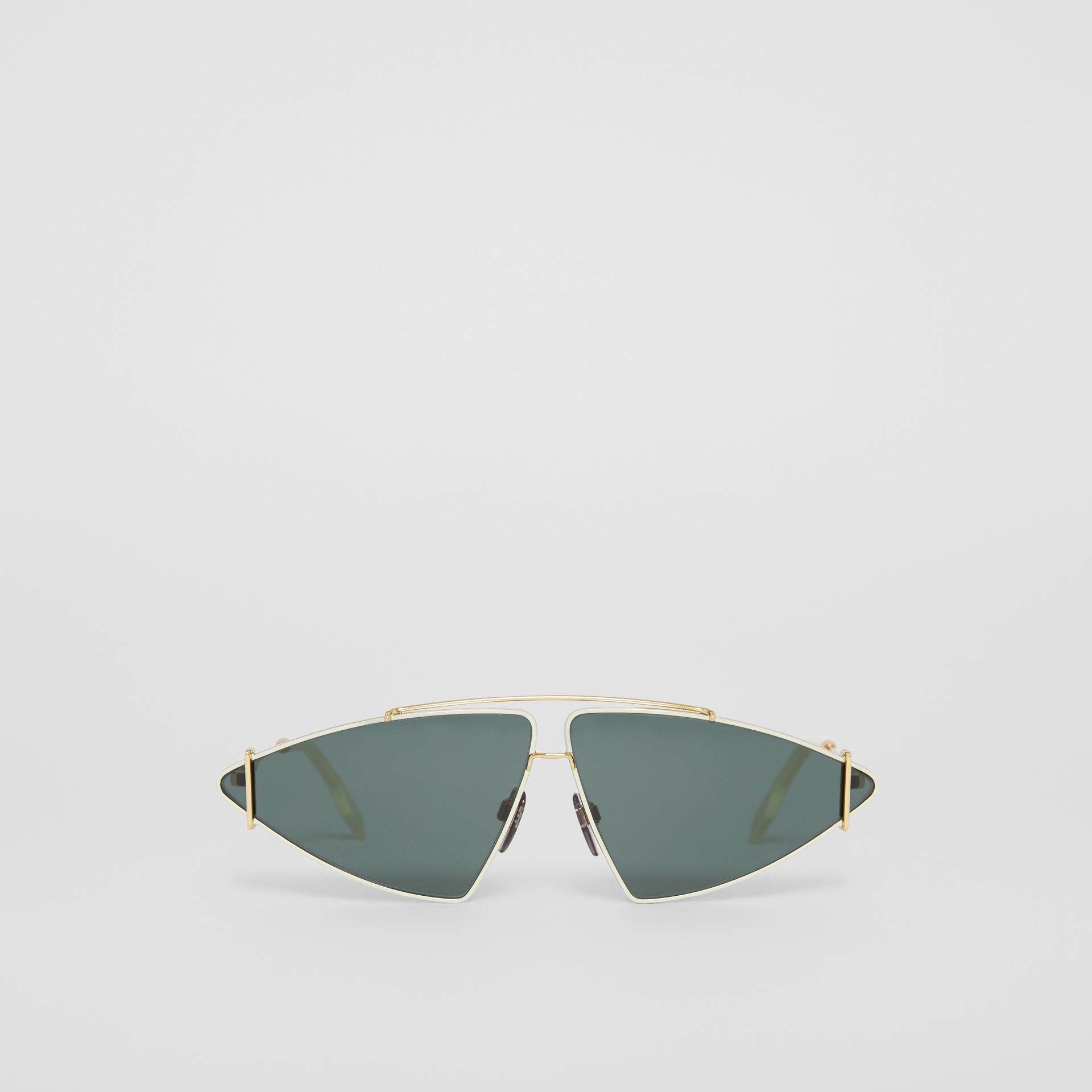 Gold-plated Triangular Frame Sunglasses in Pistachio - Women | Burberry - gallery image 0