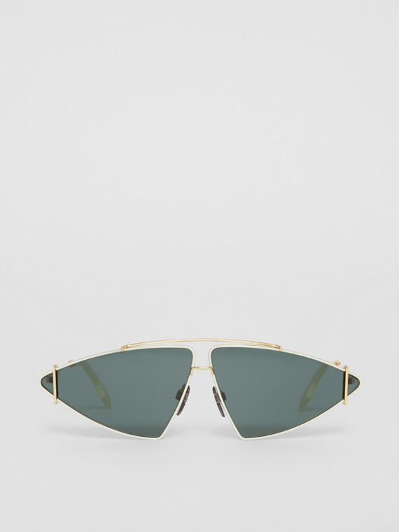 Gold-plated Triangular Frame Sunglasses in Pistachio