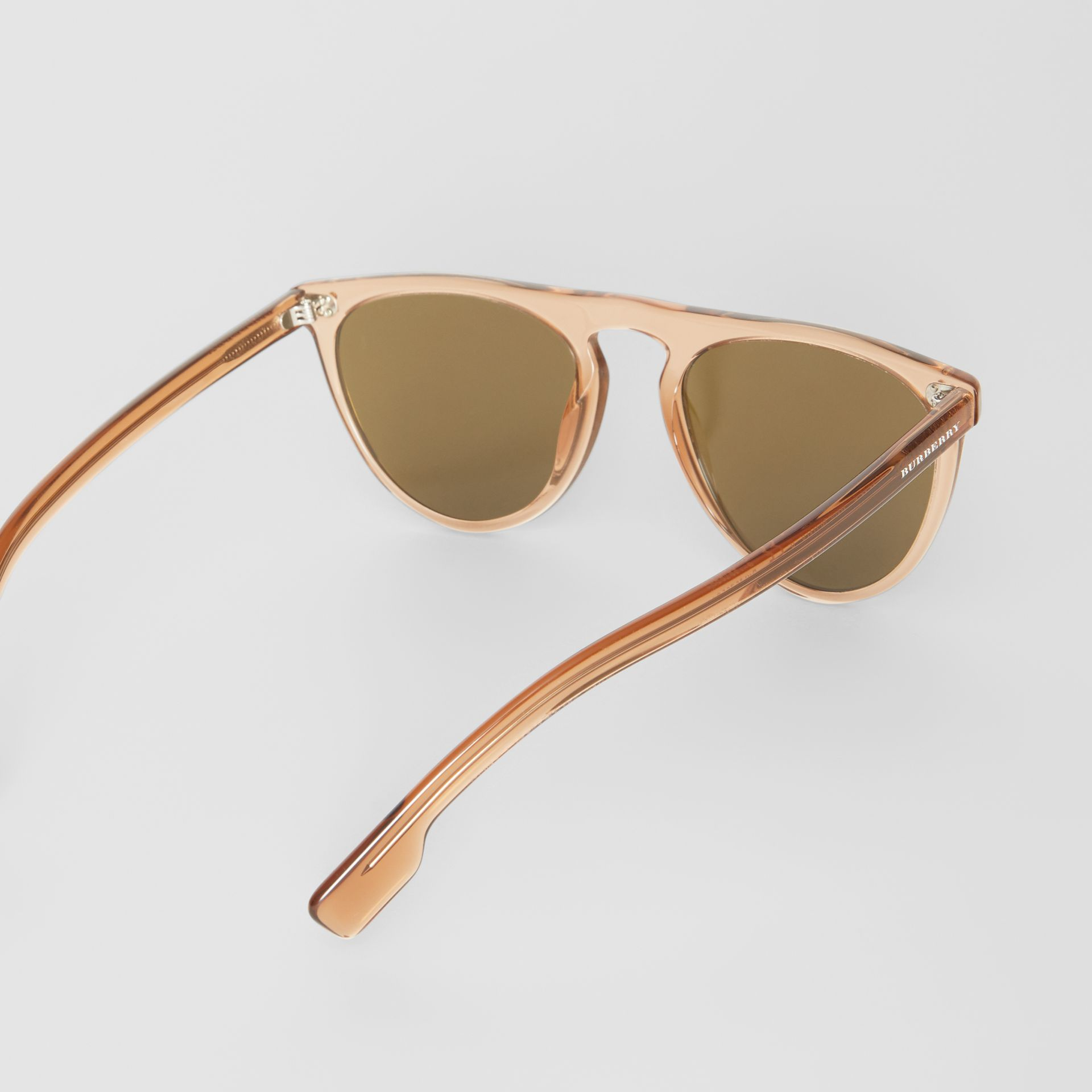 Keyhole D-shaped Sunglasses in Brown - Men | Burberry United Kingdom - gallery image 4