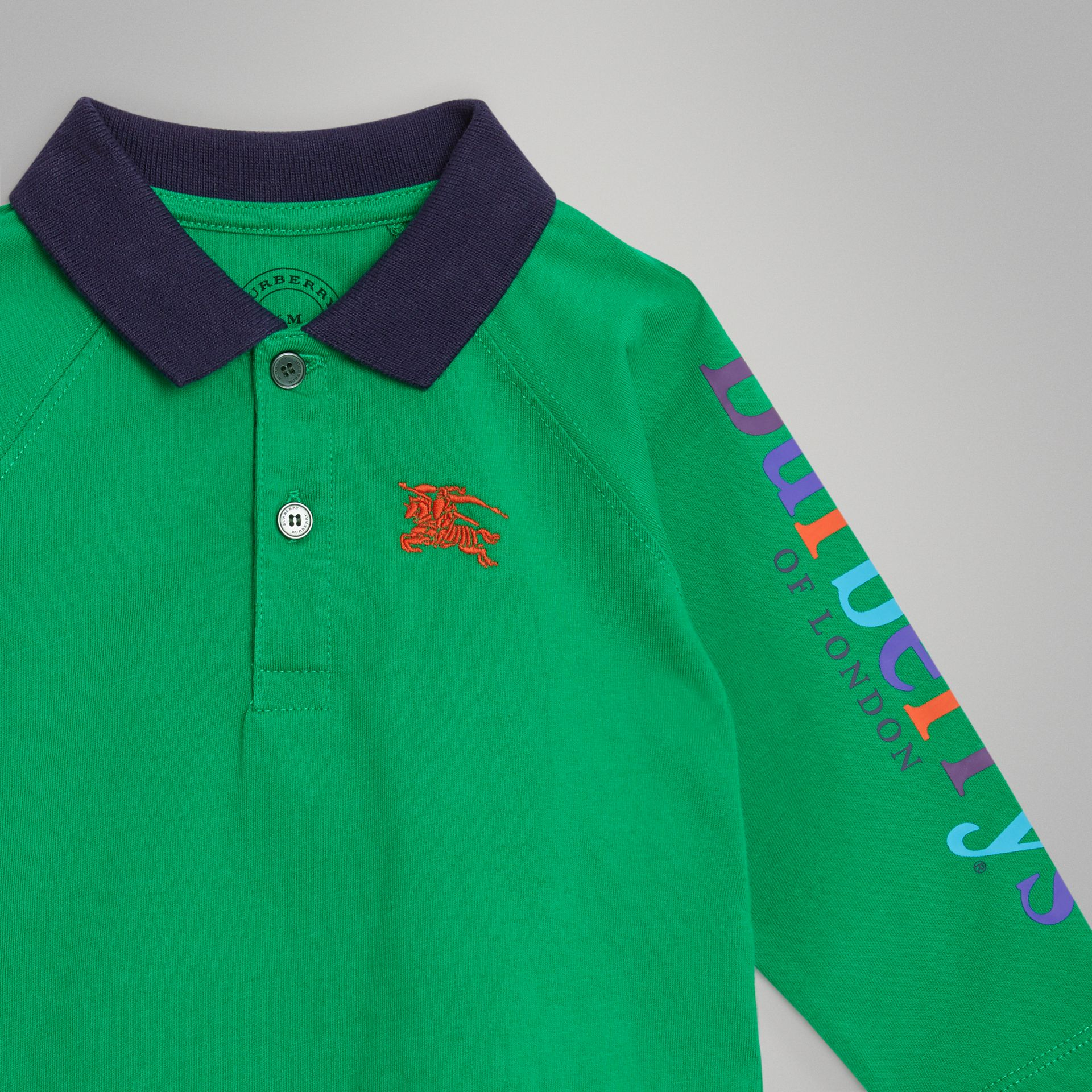 Archive Logo Print Cotton Long-sleeve Polo Shirt in Bright Pigment Green - Children | Burberry Canada - gallery image 4