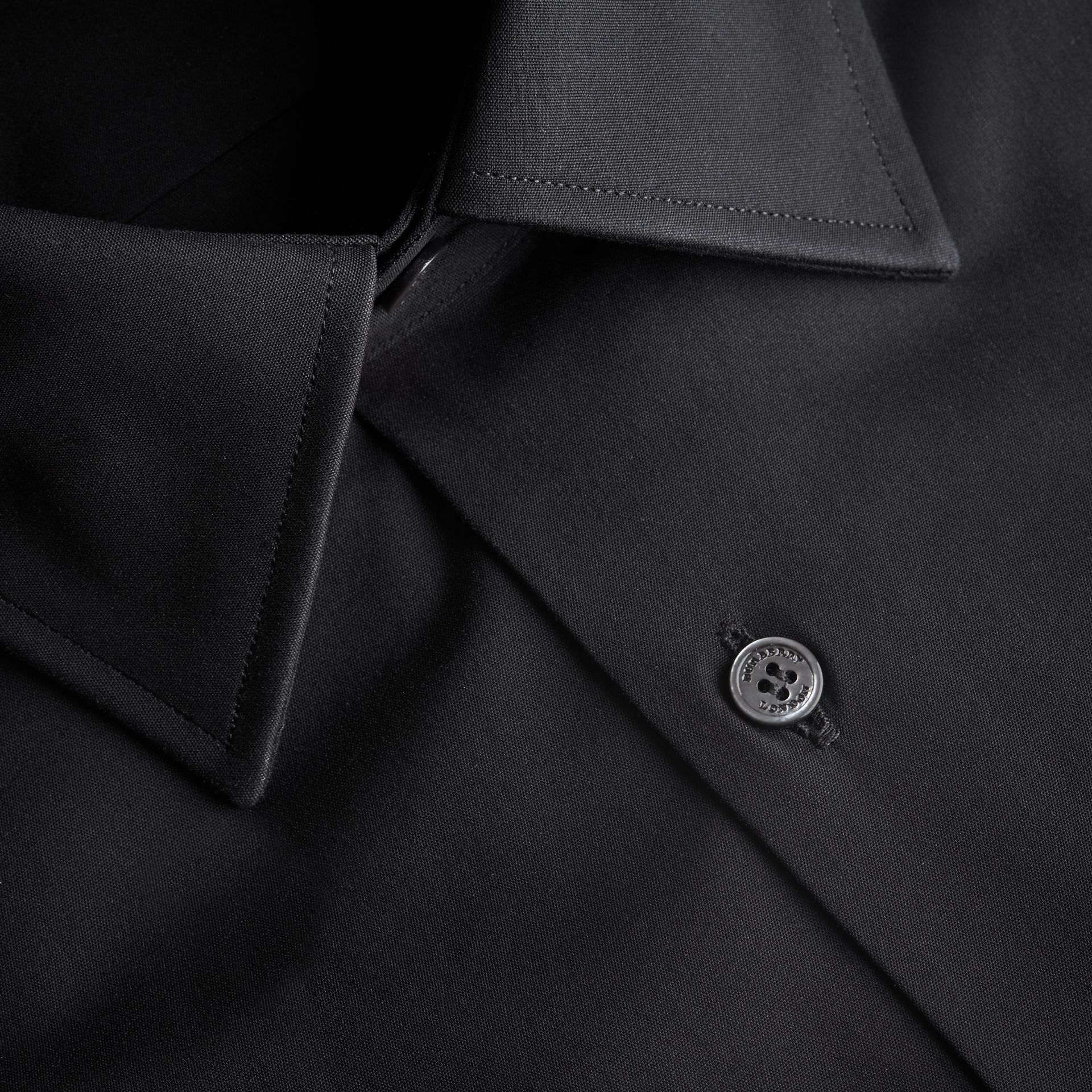 Modern Fit Stretch Cotton Shirt in Black - Men | Burberry Singapore - gallery image 2
