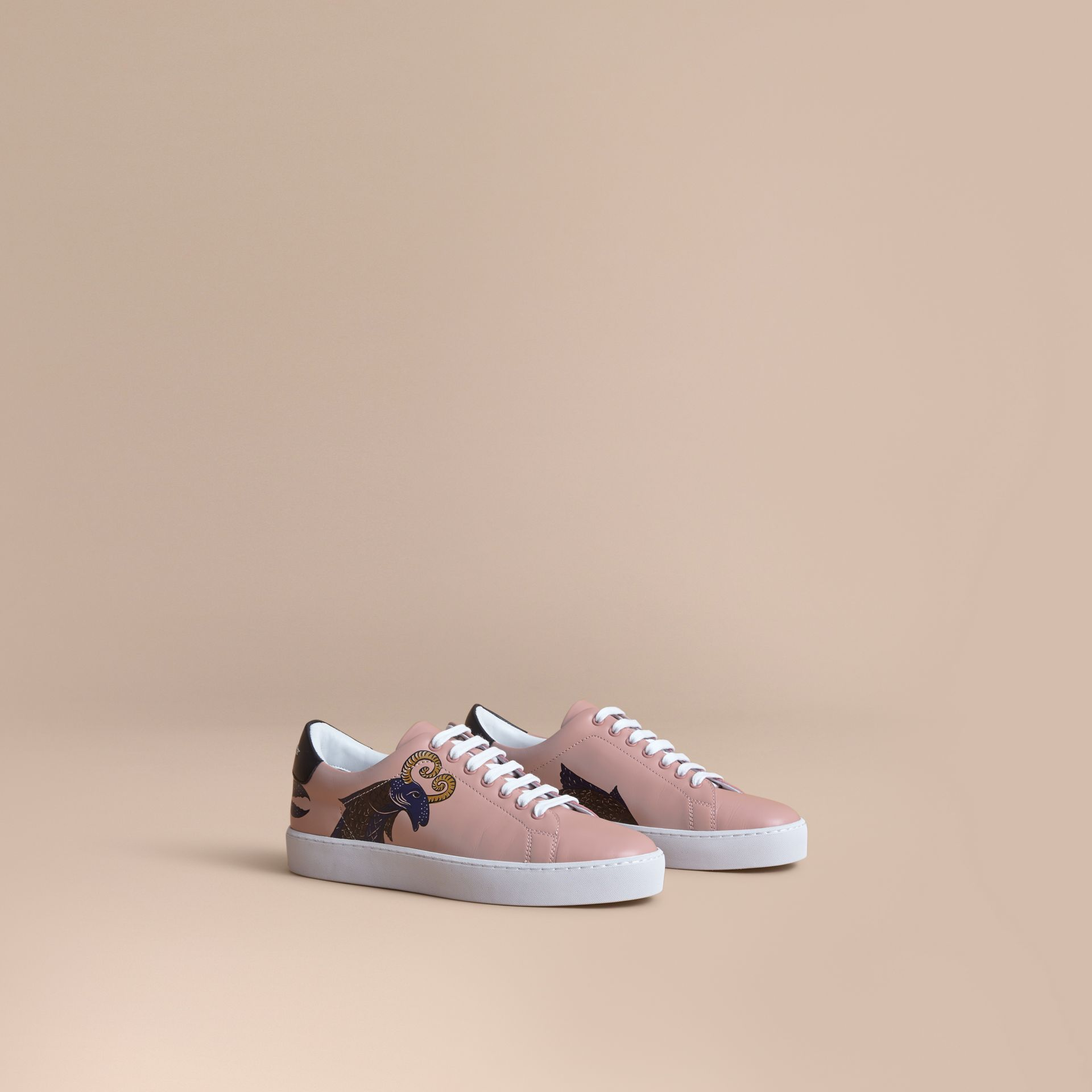 Beasts Print Leather Trainers in Ivory Pink - Women | Burberry - gallery image 1