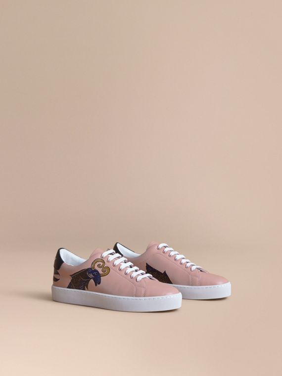 Beasts Print Leather Trainers - Women | Burberry