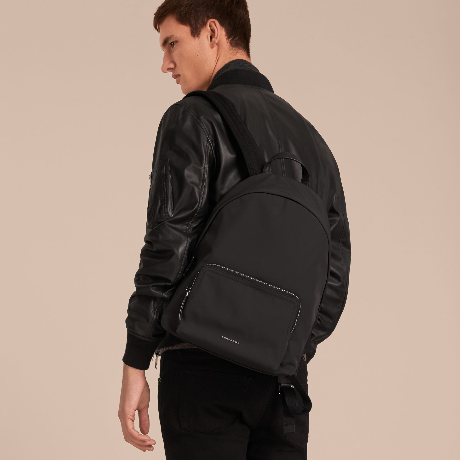 Leather Trim Technical Backpack in Black - Men | Burberry - gallery image 3