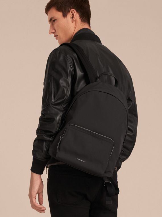 Leather Trim Technical Backpack in Black - Men | Burberry - cell image 2