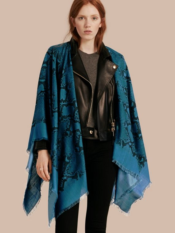 Lightweight Python Print Wool Cashmere Silk Poncho Mineral Blue