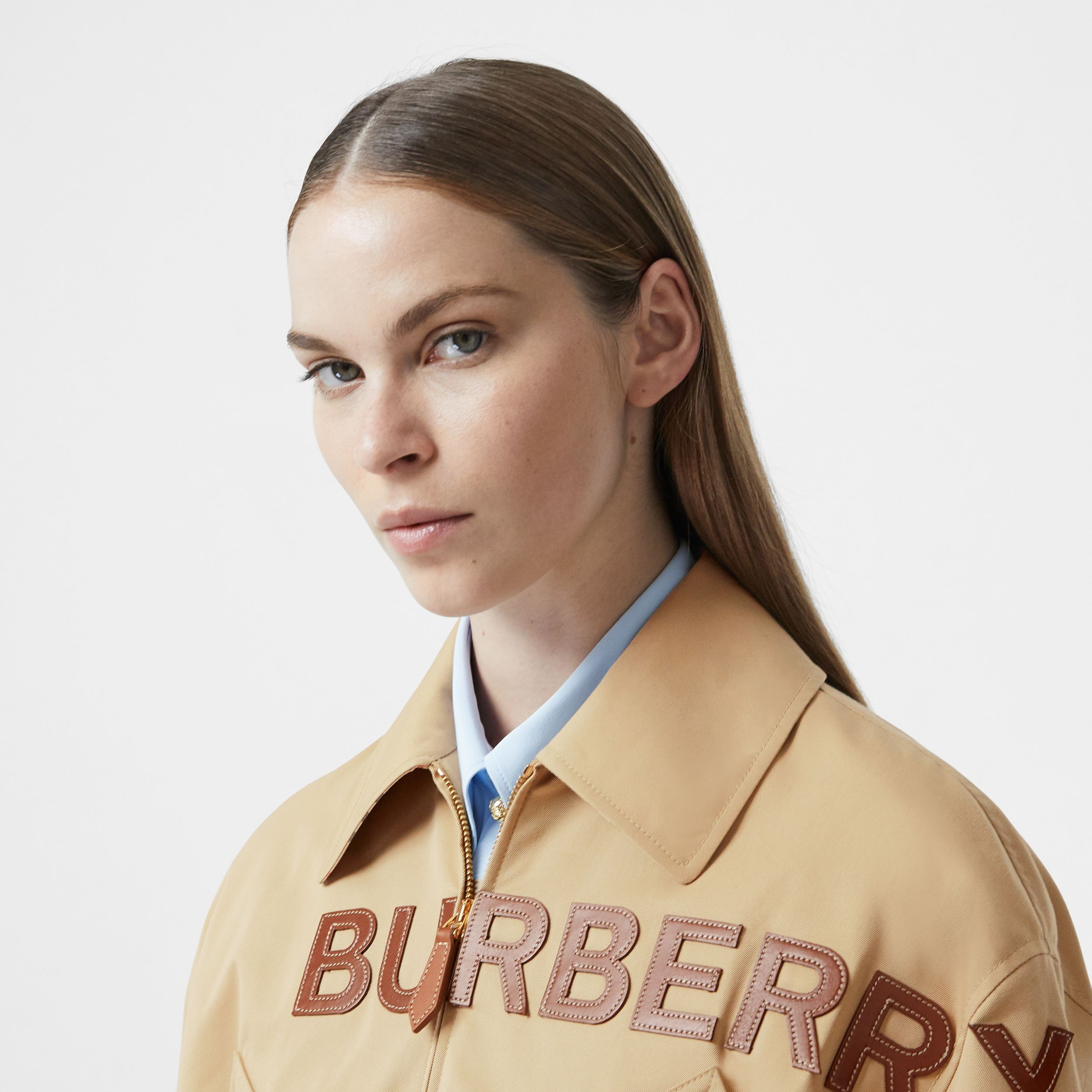 Leather Horseferry Appliqué Cotton Riding Jacket in Honey - Women | Burberry Australia - 2