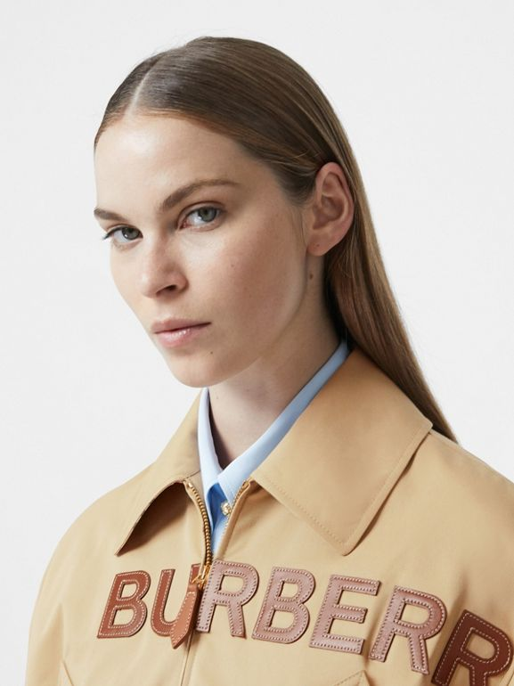 Leather Horseferry Appliqué Cotton Riding Jacket in Honey - Women | Burberry Australia - cell image 1