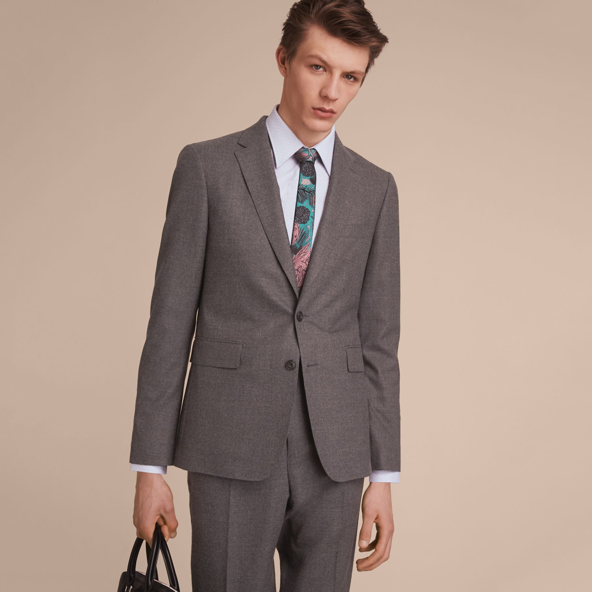 Soho Fit Wool Flannel Suit in Dark Charcoal Melange - Men | Burberry Australia - gallery image 8