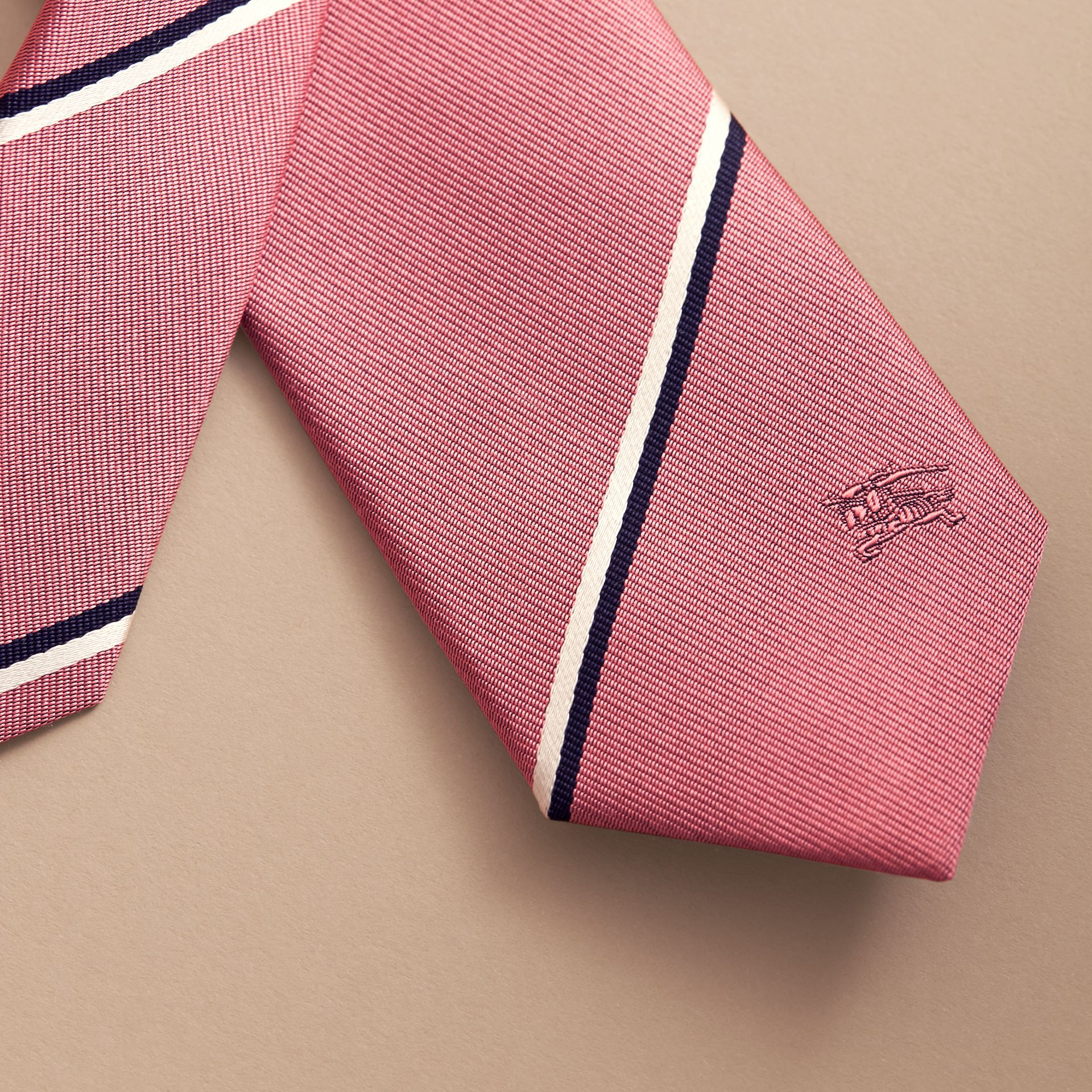 Slim Cut Striped Silk Tie in Rose Pink - Men | Burberry - gallery image 2