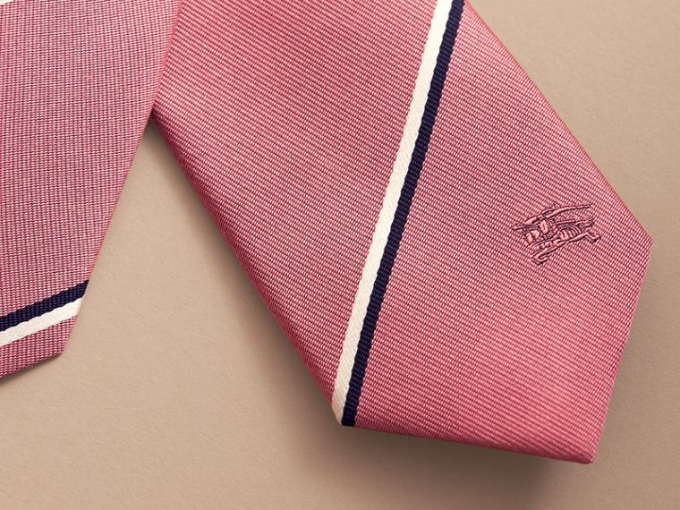 Slim Cut Striped Silk Tie in Rose Pink - Men | Burberry - cell image 1