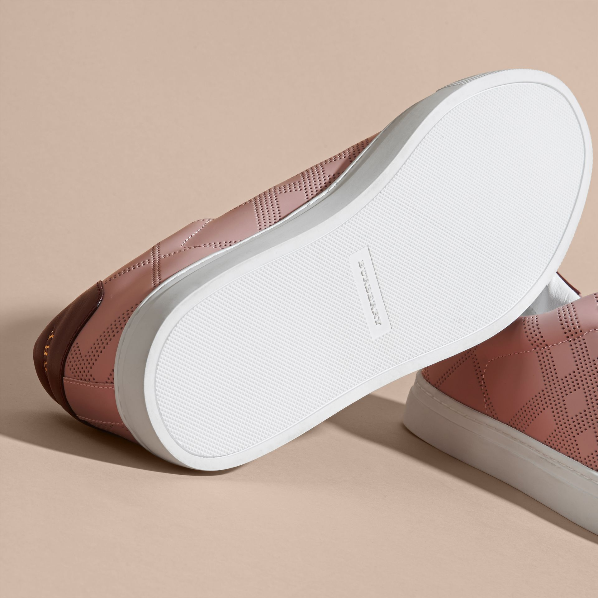 Perforated Check Leather Trainers in Rose Pink/deep Claret Melange - Men | Burberry - gallery image 5
