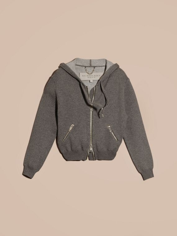 Dark grey melange Hooded Cashmere Cotton Jacket - cell image 3