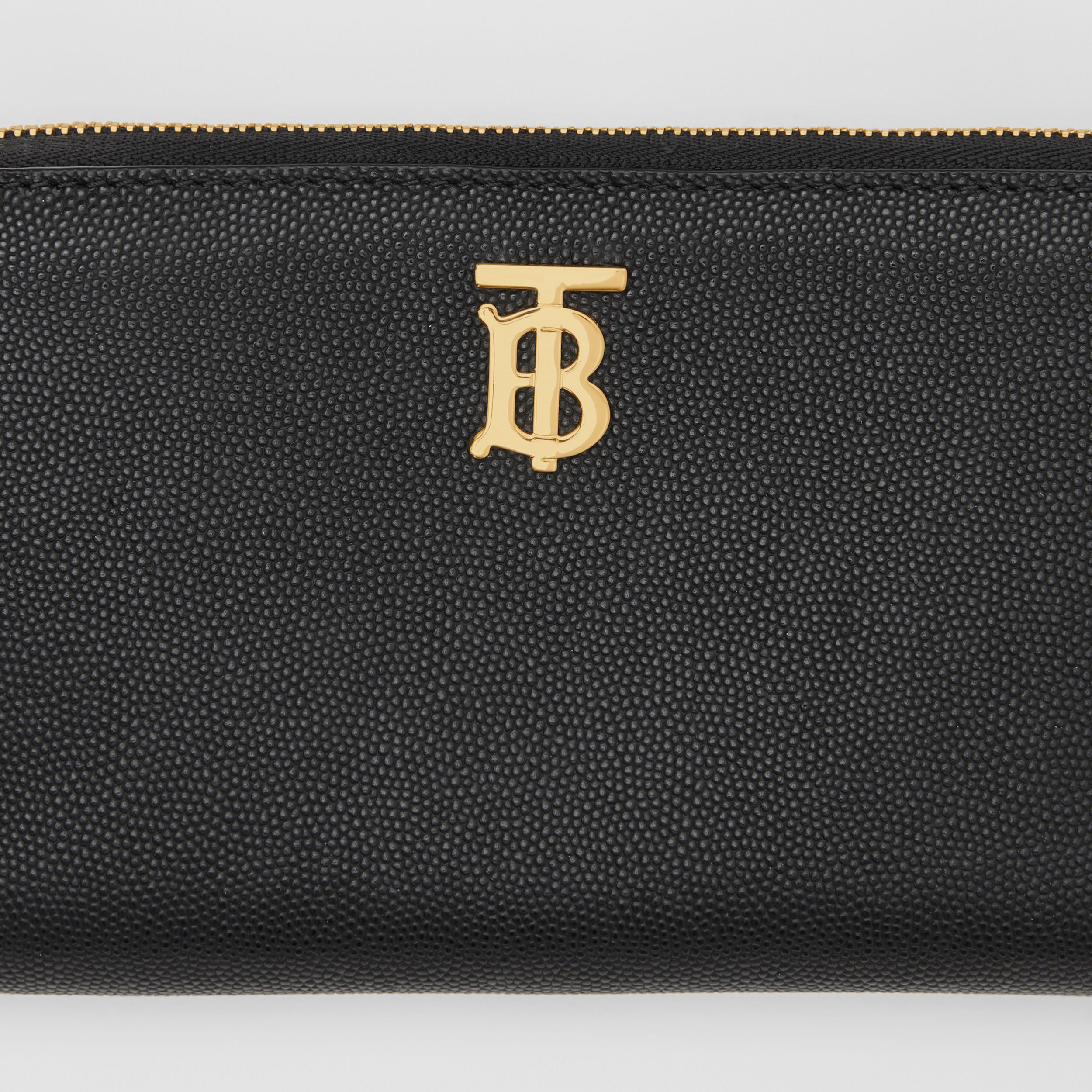Monogram Motif Grainy Leather Ziparound Wallet in Black - Women | Burberry - 2