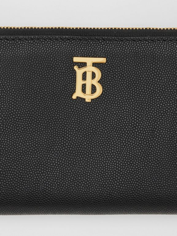 Monogram Motif Grainy Leather Ziparound Wallet in Black - Women | Burberry Australia - cell image 1