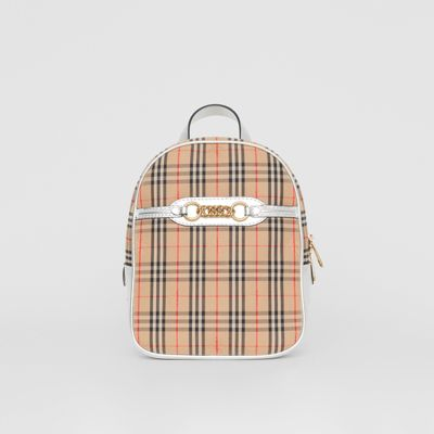 Link Vintage Check Canvas Backpack in Silver