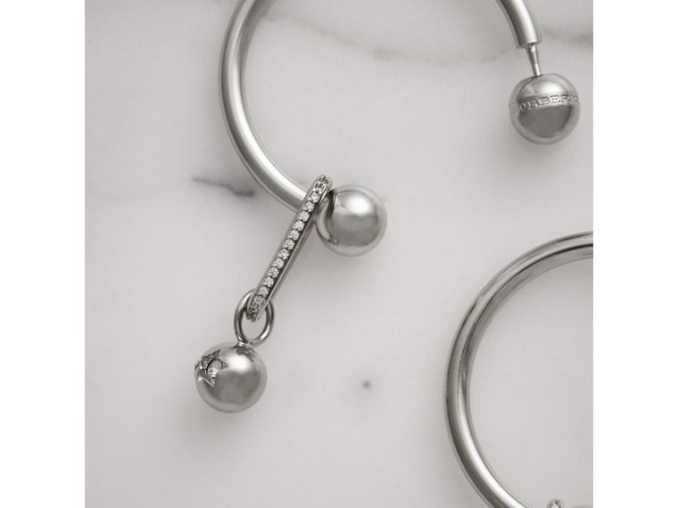 Crystal Charm Palladium-plated Hoop Earrings in Palladio/crystal - Women | Burberry Canada - cell image 1