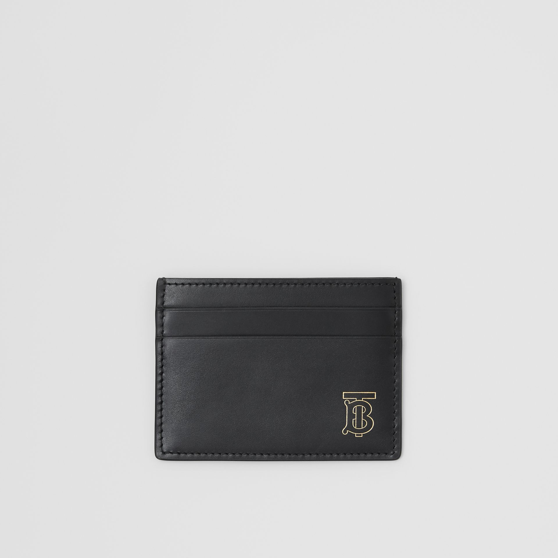 Monogram Motif Leather Card Case in Black | Burberry Australia - gallery image 0
