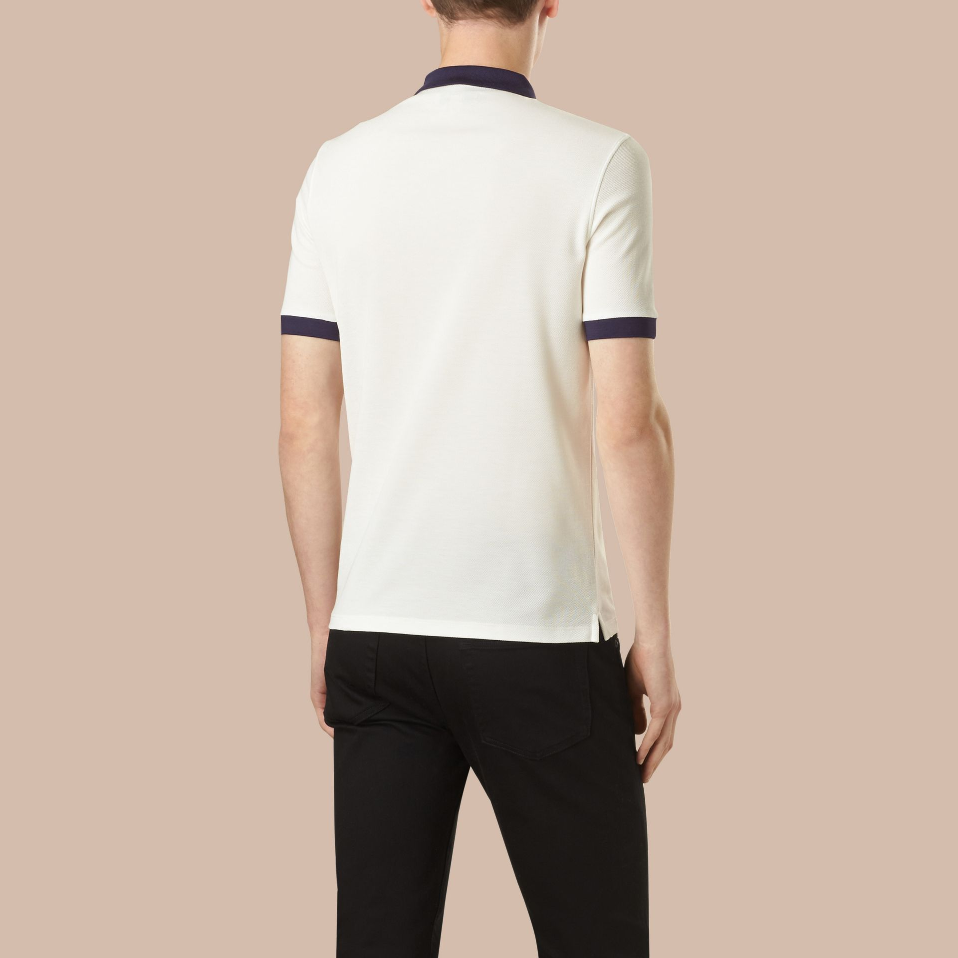 White/navy Mercerised Cotton Polo Shirt - gallery image 3