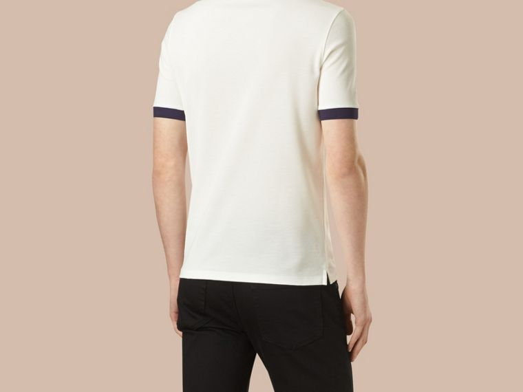 White/navy Mercerised Cotton Polo Shirt - cell image 2
