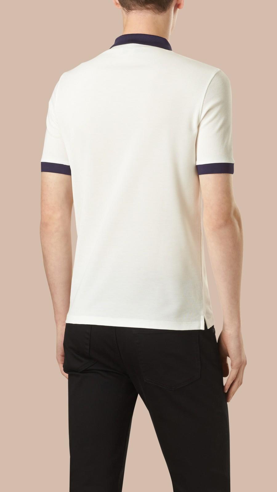 White/navy Mercerised Cotton Polo Shirt White/navy - Image 4