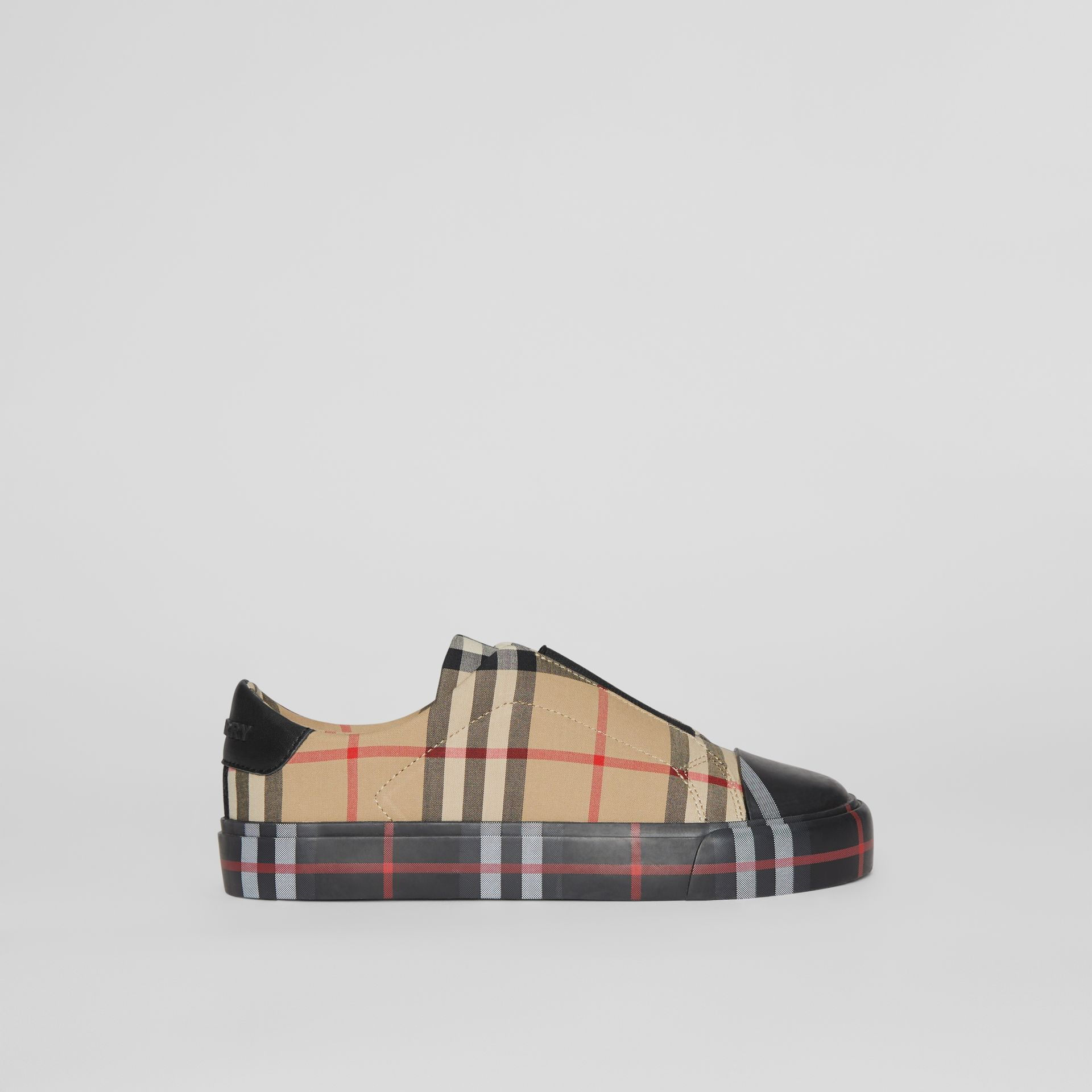 Contrast Check Slip-on Sneakers in Black/archive Beige - Children | Burberry United Kingdom - gallery image 3