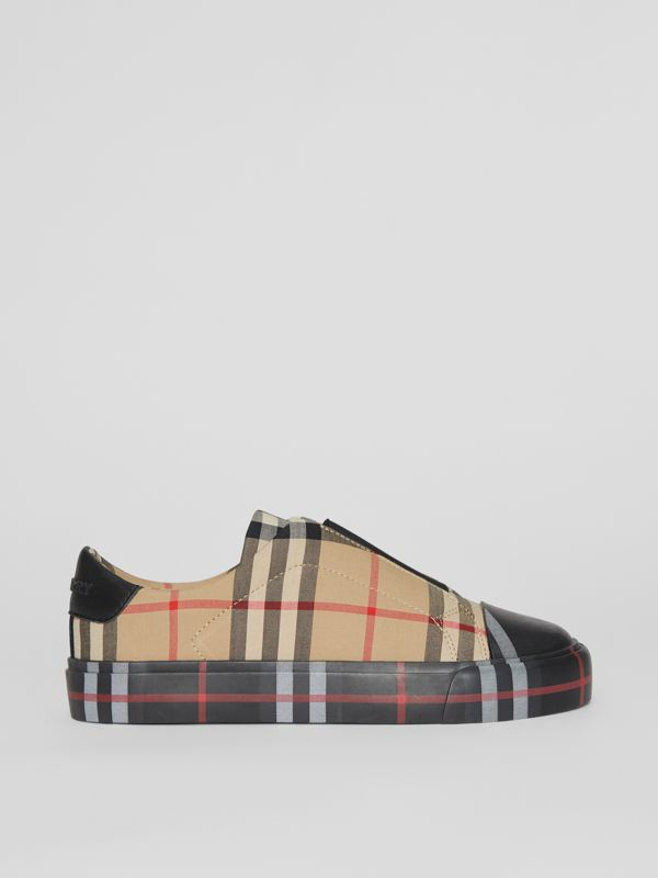 Contrast Check Slip-on Sneakers in Black/archive Beige - Children | Burberry United States - cell image 3