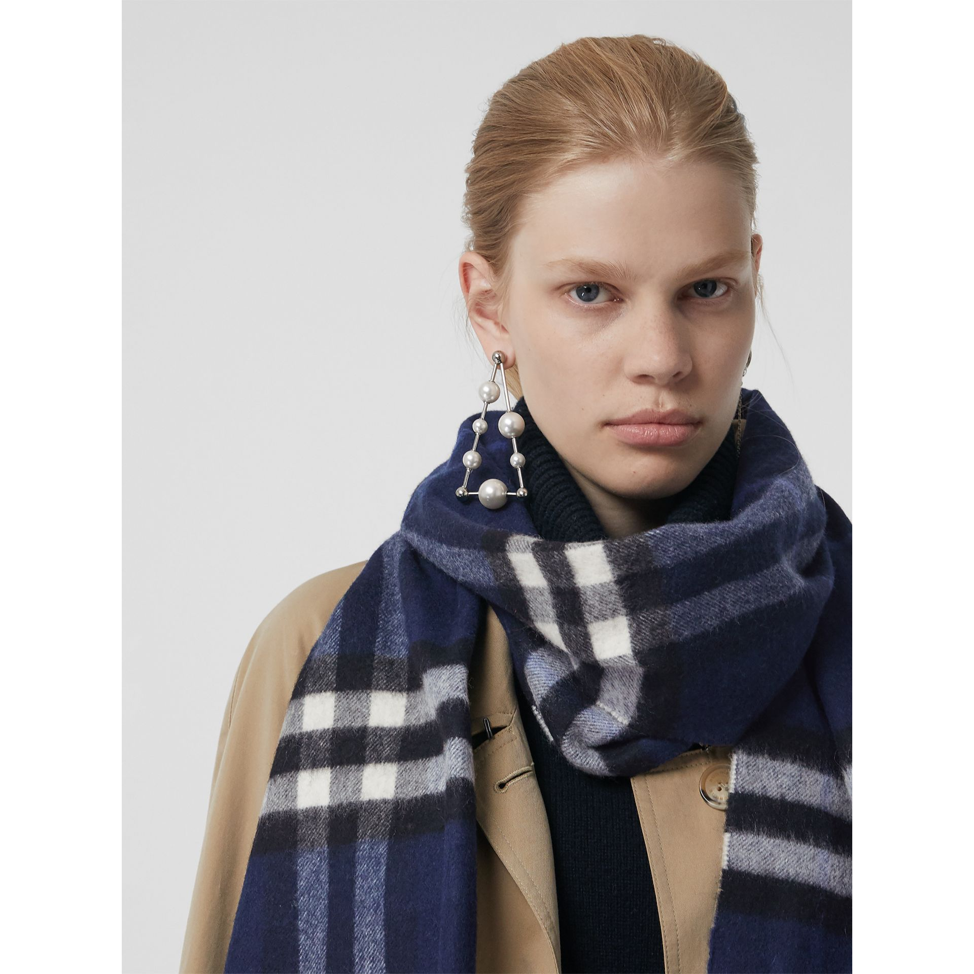 The Classic Check Cashmere Scarf in Indigo Blue | Burberry - gallery image 2
