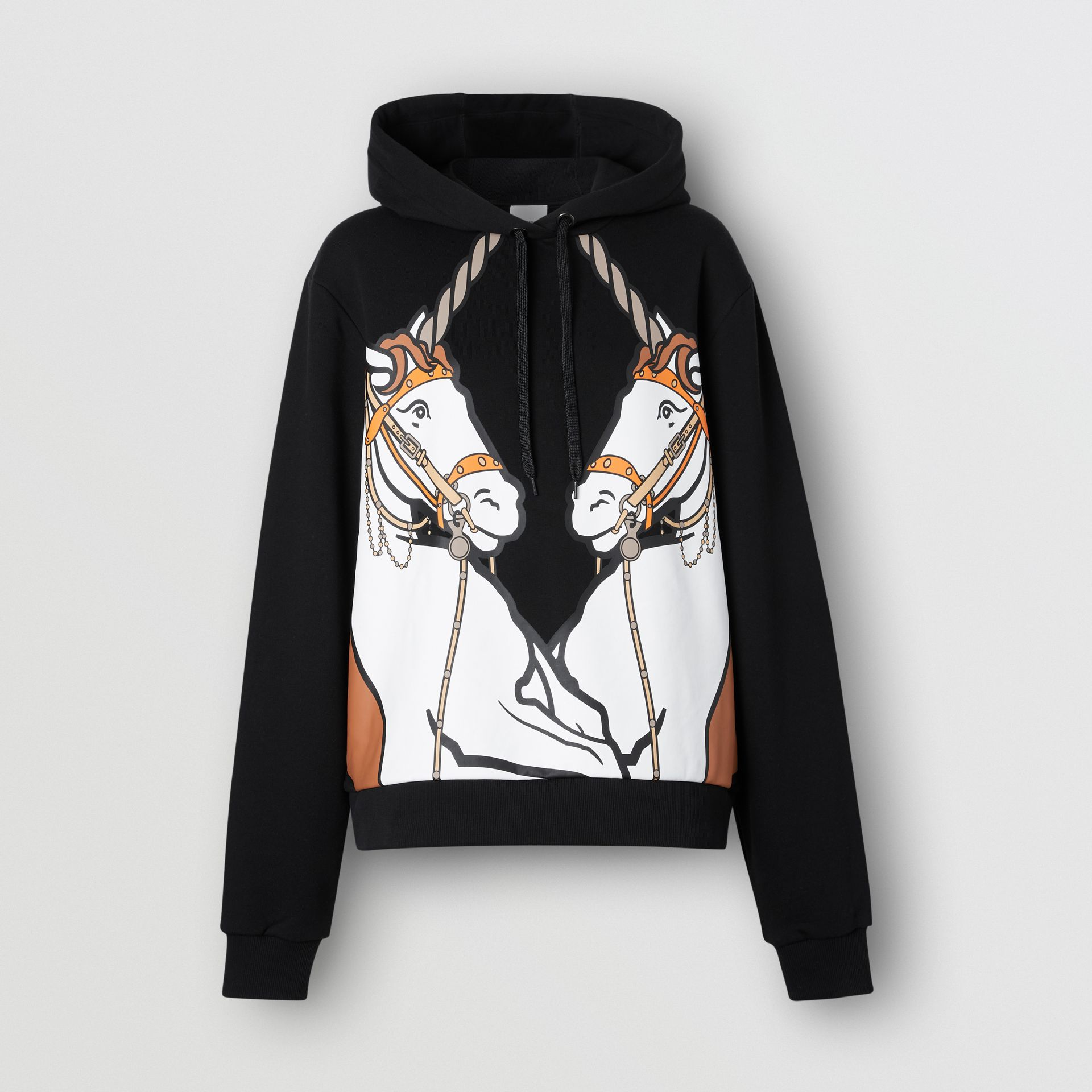 Unicorn Print Cotton Oversized Hoodie in Black - Women | Burberry Hong Kong S.A.R - gallery image 3