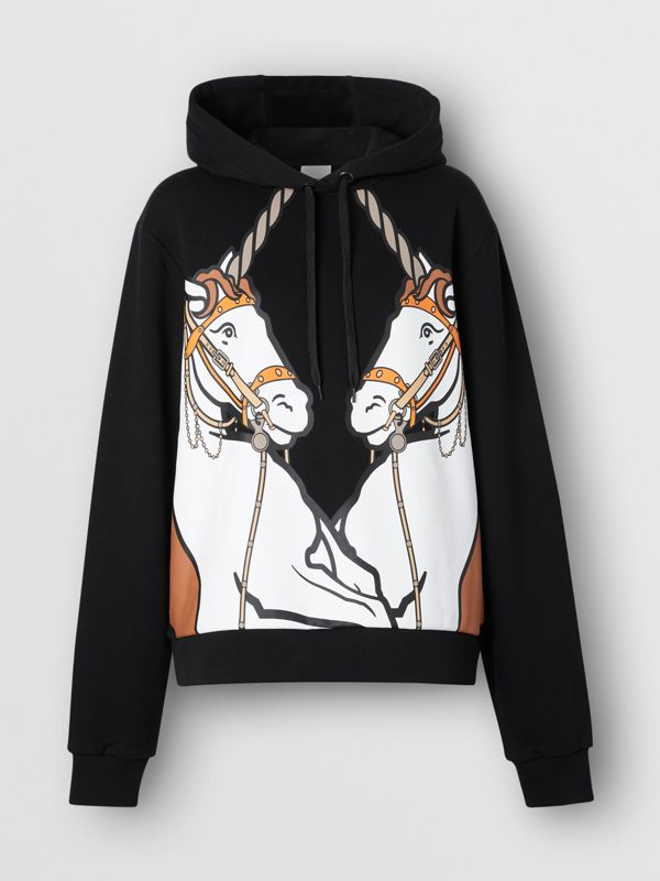 Unicorn Print Cotton Oversized Hoodie in Black - Women | Burberry Hong Kong S.A.R - cell image 3