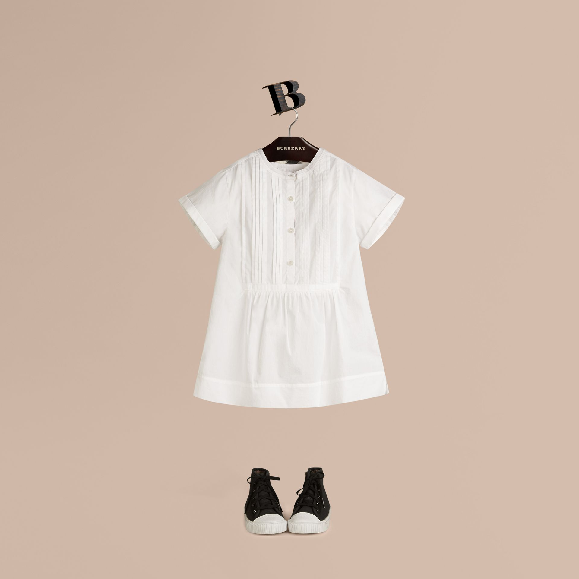 Pintuck Detail Cotton Dress in White - Girl | Burberry - gallery image 0