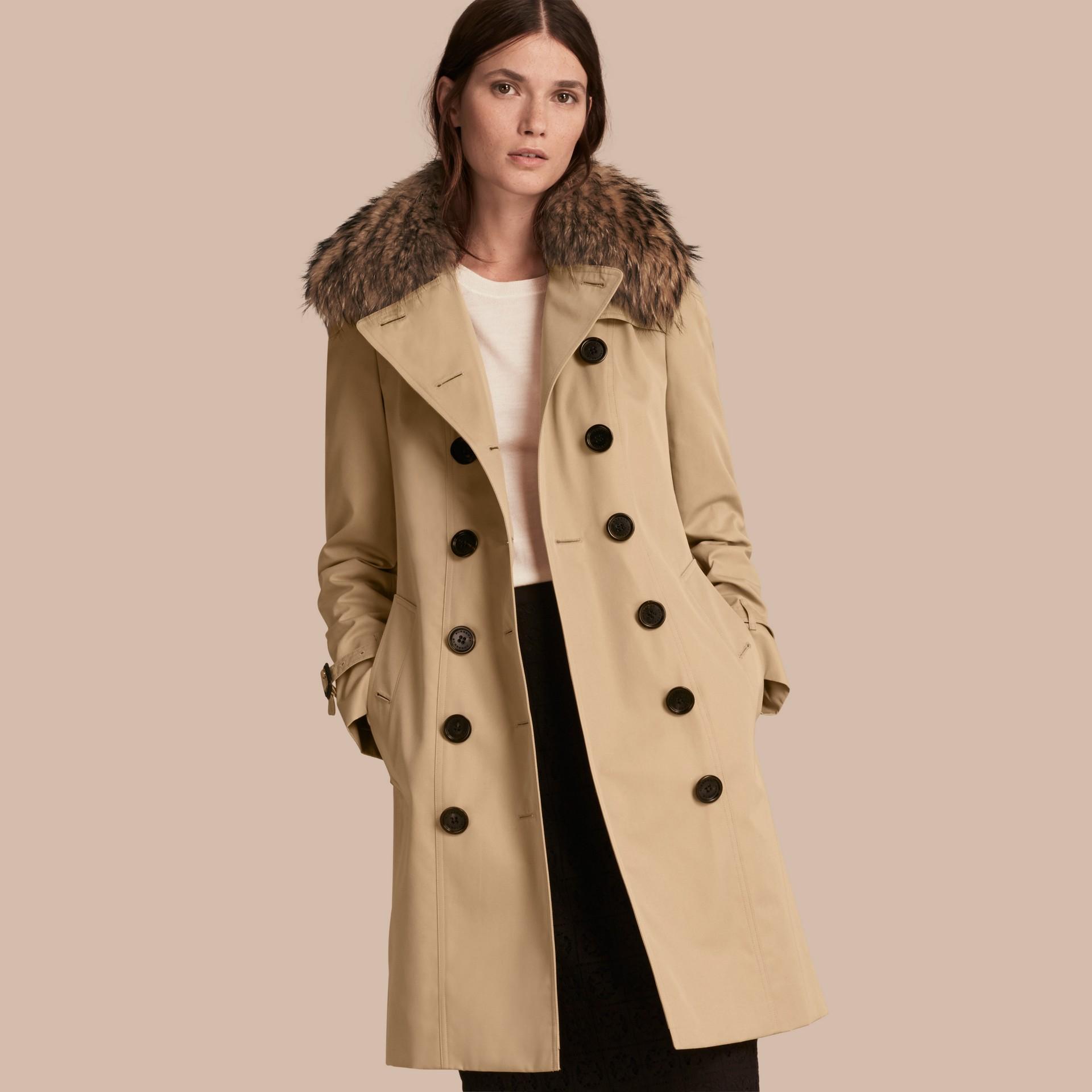 Honey Cotton Gabardine Trench Coat with Detachable Fur Trim Honey - gallery image 1