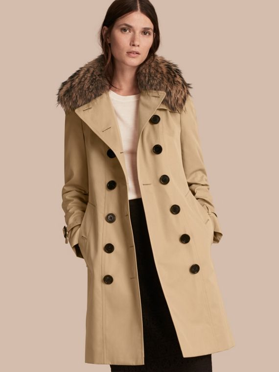 Cotton Gabardine Trench Coat with Detachable Fur Trim Honey
