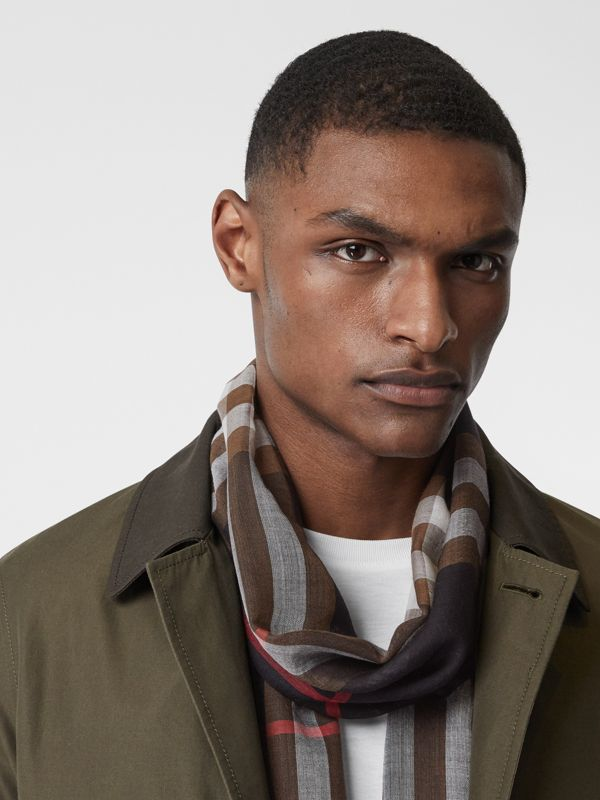 Lightweight Check Wool Silk Scarf in Black / Brown | Burberry United Kingdom - cell image 3
