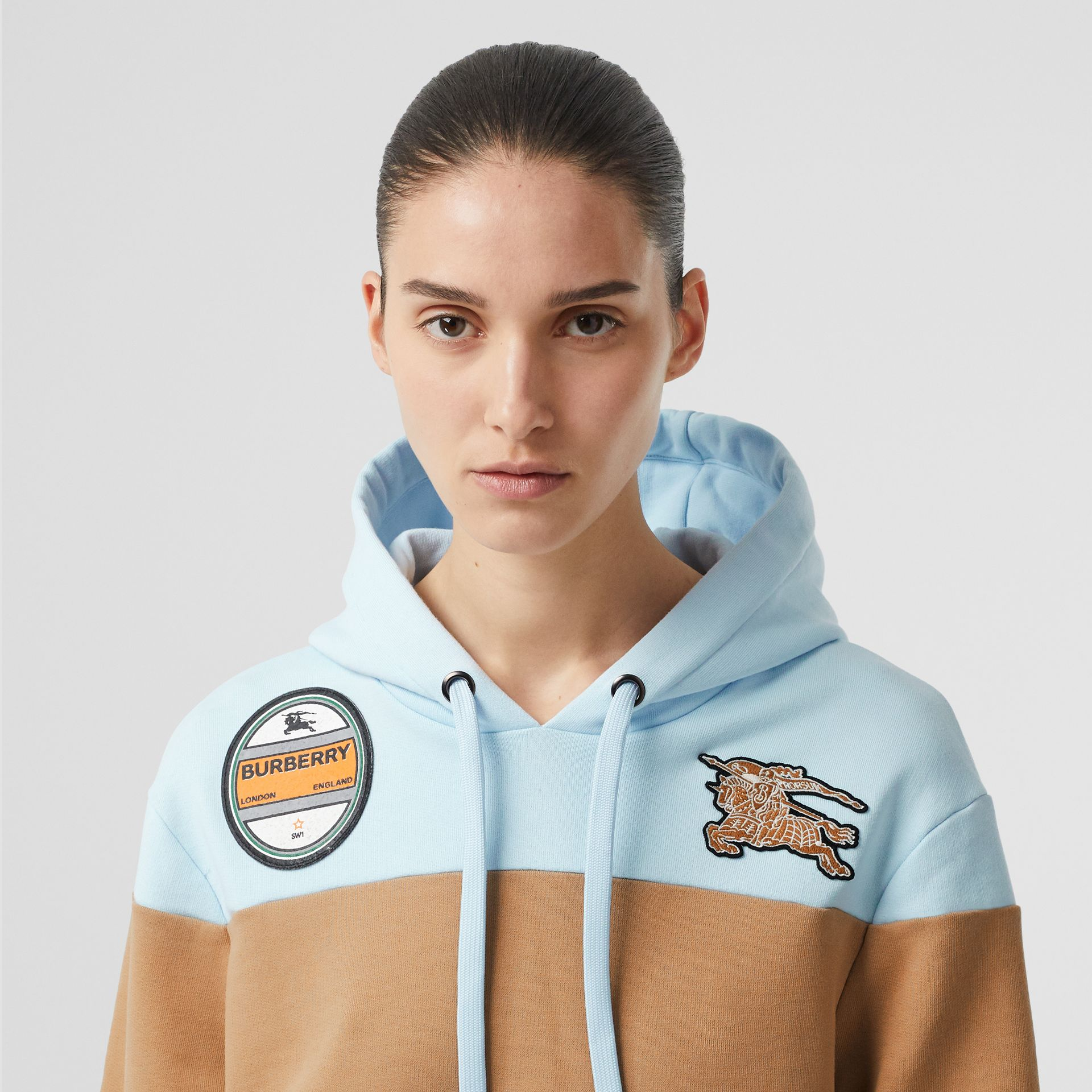 Logo Graphic Panelled Cotton Oversized Hoodie in Pale Blue - Women | Burberry - gallery image 4