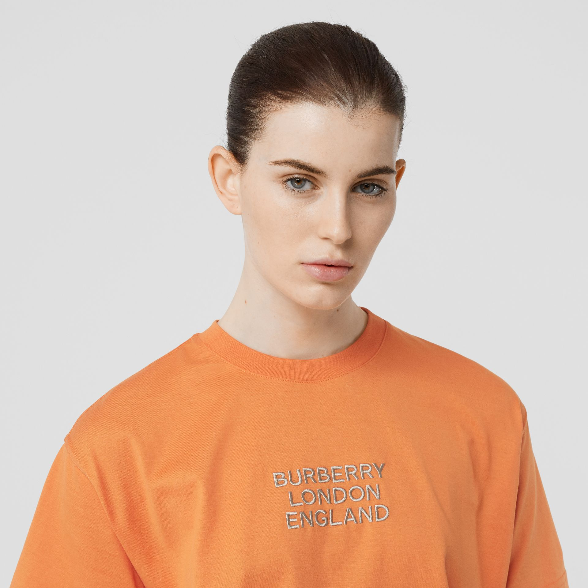 Embroidered Logo Cotton Oversized T-shirt in Bright Orange - Women | Burberry - gallery image 1