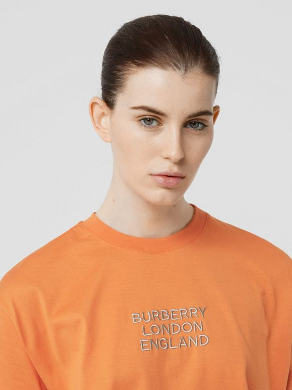 Embroidered Logo Cotton Oversized T-shirt in Bright Orange - Women | Burberry Hong Kong S.A.R - cell image 1