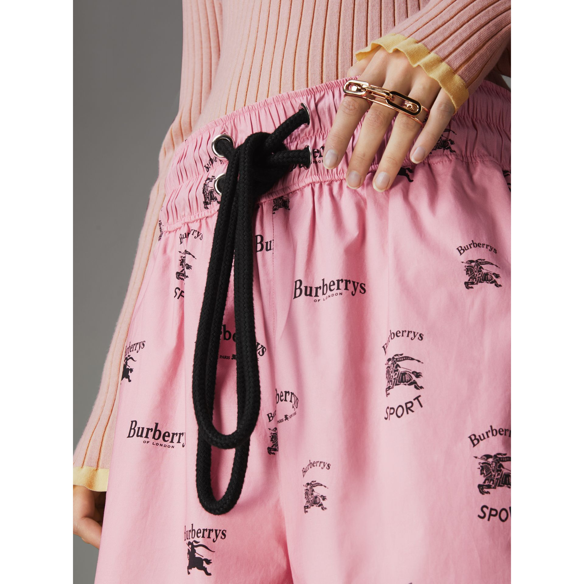 Archive Logo Print Stretch Cotton Drawcord Shorts in Pink - Women | Burberry Singapore - gallery image 1