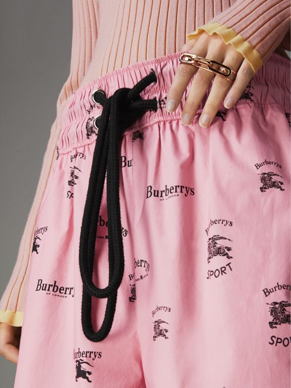 Archive Logo Print Stretch Cotton Drawcord Shorts in Pink - Women | Burberry Singapore - cell image 1