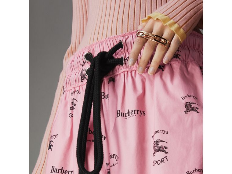 Archive Logo Print Stretch Cotton Drawcord Shorts in Pink - Women | Burberry United Kingdom - cell image 1