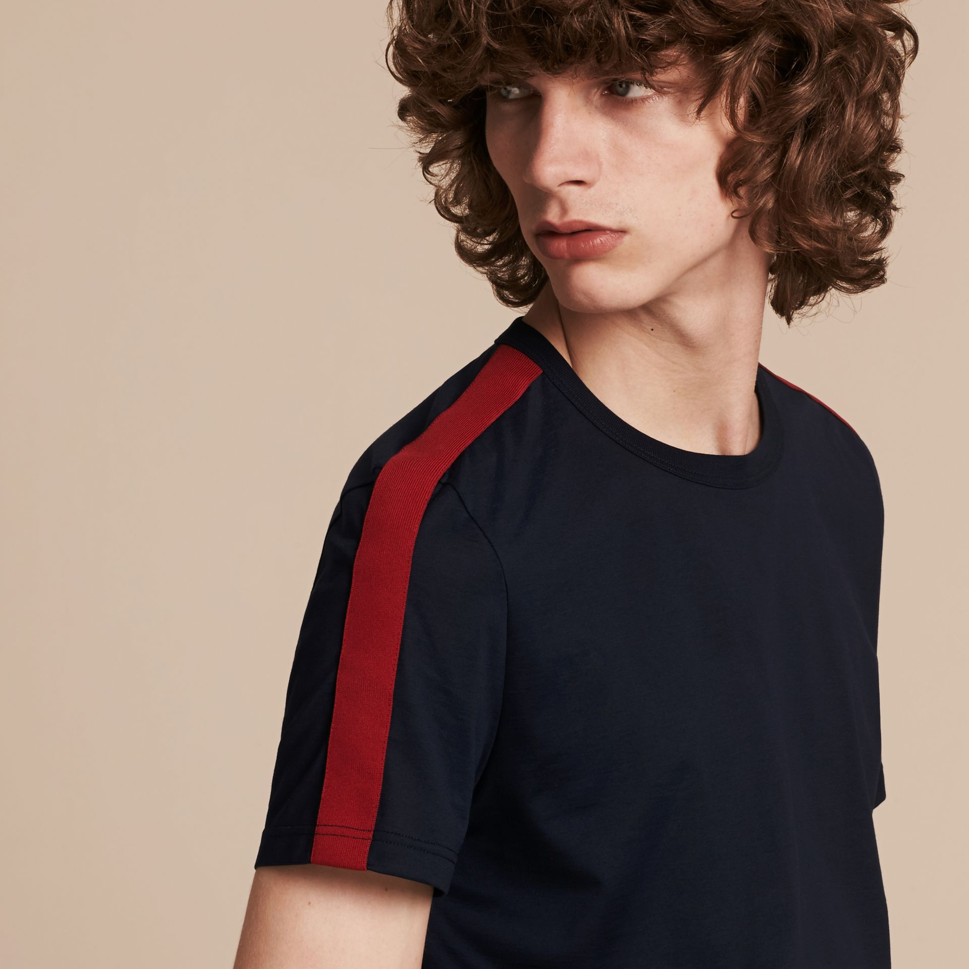 Navy Shoulder Stripe Cotton T-shirt Navy - gallery image 5