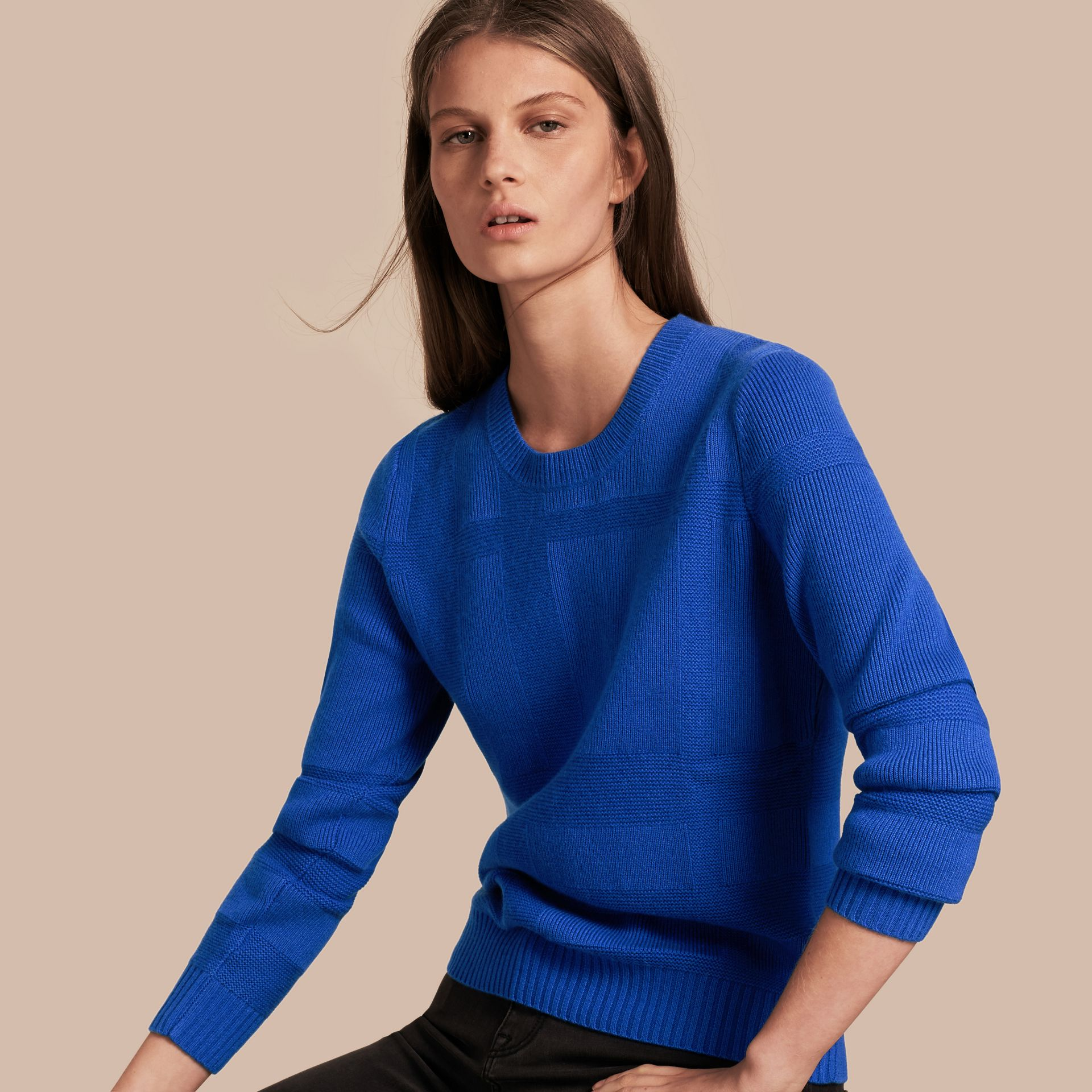 Check-knit Wool Cashmere Sweater in Sapphire Blue - gallery image 1