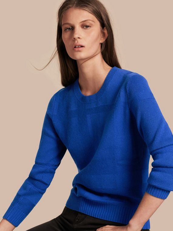 Check-knit Wool Cashmere Sweater Sapphire Blue