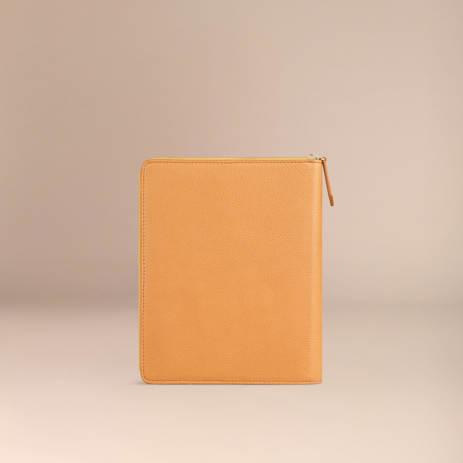 Ziparound Grainy Leather A5 Notebook in Ochre Yellow | Burberry - gallery image 4