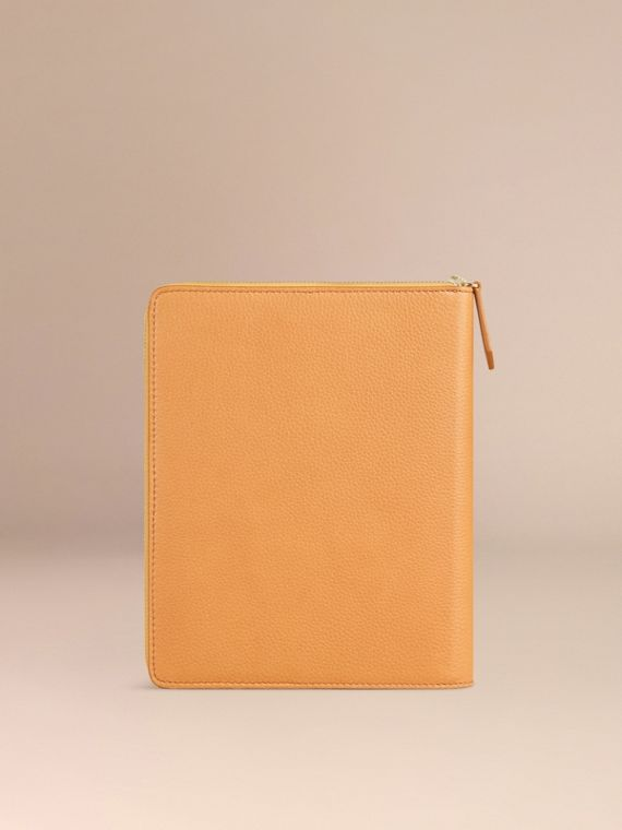 Ziparound Grainy Leather A5 Notebook in Ochre Yellow | Burberry - cell image 3