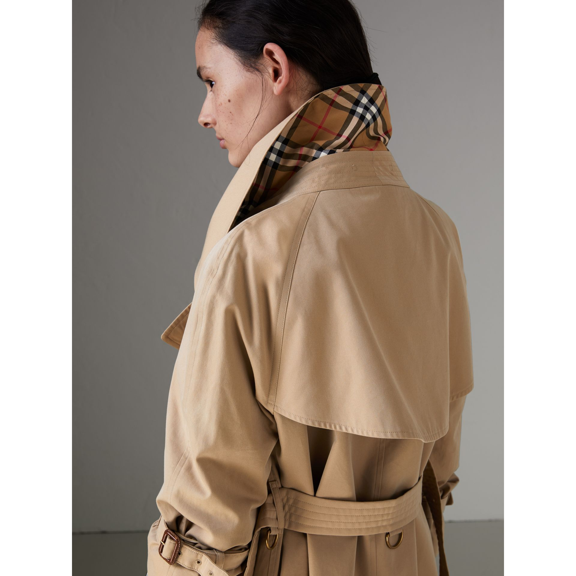 Exaggerated Collar Cotton Gabardine Trench Coat in Honey - Women | Burberry - gallery image 4