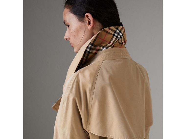 Exaggerated Collar Cotton Gabardine Trench Coat in Honey - Women | Burberry - cell image 4
