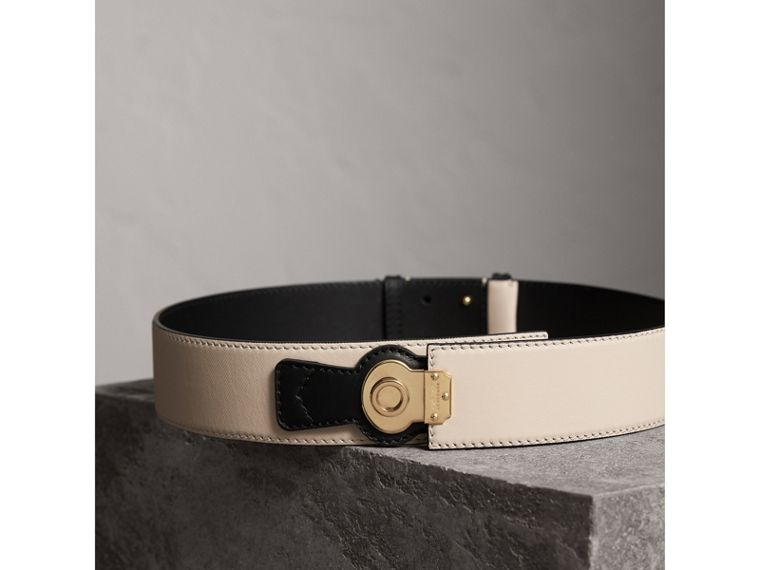 Two-tone Trench Leather Belt in Limestone/ Black - Women | Burberry - cell image 2