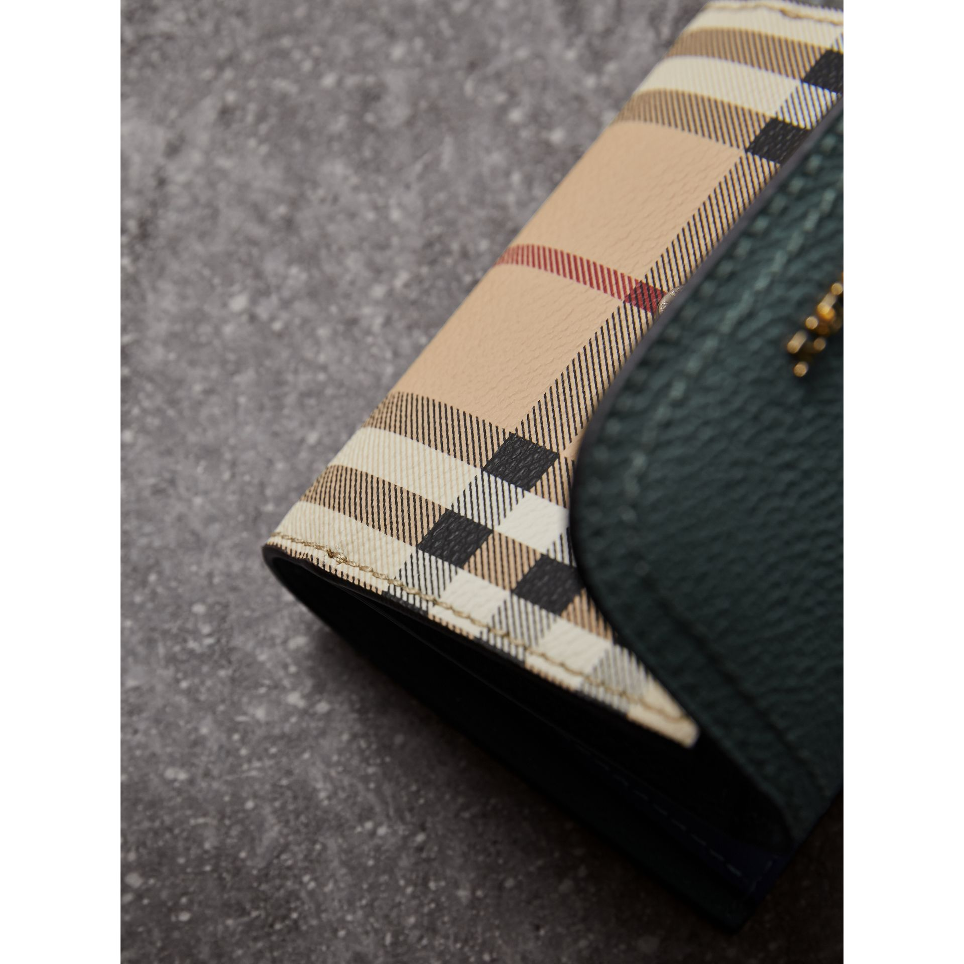 Leather and Haymarket Check Wallet in Eucalyptus Green/multicolour - Women | Burberry - gallery image 2