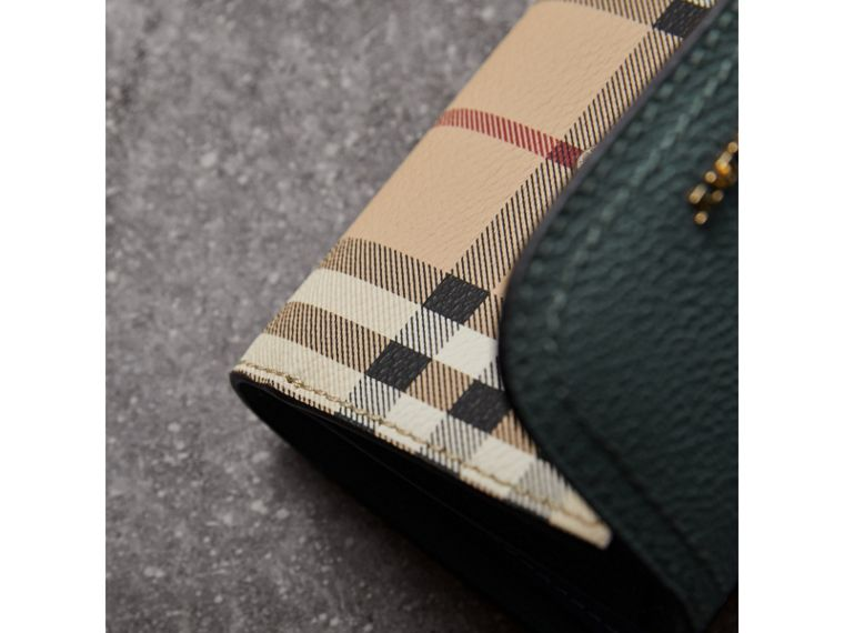 Leather and Haymarket Check Wallet in Eucalyptus Green/multicolour - Women | Burberry United Kingdom - cell image 1